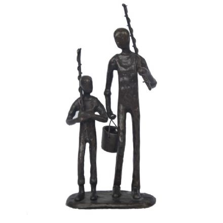 Contemporary Metal Figurine ~ Father & Son Fishing